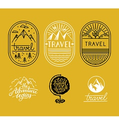 Set linear badges in trendy linear style vector
