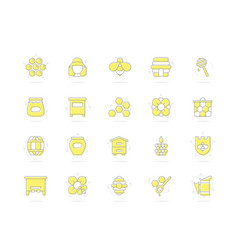 set of honey line colored icons bee vector image