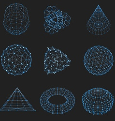 Set of wireframe polygonal elements Abstract vector image
