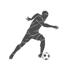 silhouette soccer player running with the ball on vector image