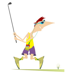 smiling golfer aiming to do a good kick vector image