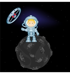 Spaceman on planet vector