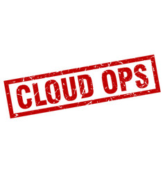 square grunge red cloud ops stamp vector image