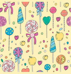 Sweet hand drawn lollipops seamless pattern vector