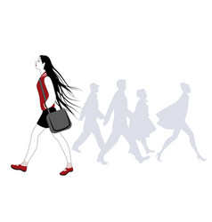 teen girl with long hair in the wind walking on vector image