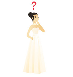Thinking fiancee with question mark vector