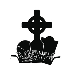 Tomb icon black vector