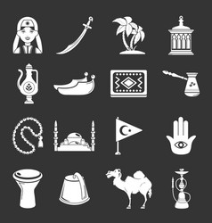 Turkey travel icons set grey vector