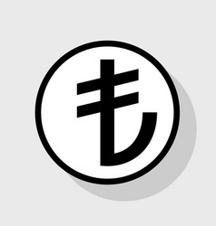 turkiey lira sign flat black icon in vector image