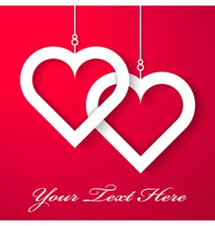 two hearts applique on red background vector image