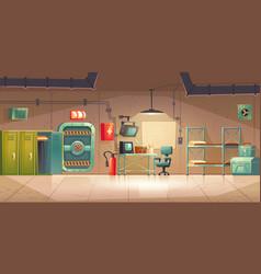 Underground bunker empty bomb shelter control room vector