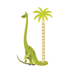 Wall meter with tall dinosaur sticker for vector