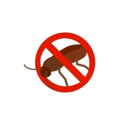 Warning sign with cockroach icon vector image