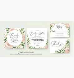 Wedding floral watercolor style invite card design vector