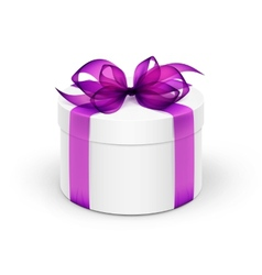 White Round Gift Box with Violet Purple Ribbon and vector
