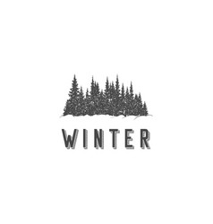 winter pine forest silhouette and snow logo vector image