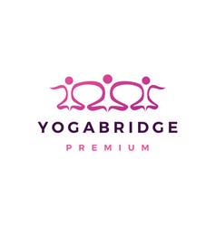 Yoga bridge community people logo icon vector