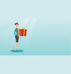 young caucasian woman holding box with gift vector image