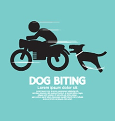 Dog Biting A Man On A Motorcycle vector image vector image