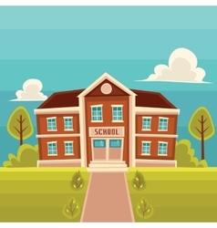 Front view school building cartoon vector image