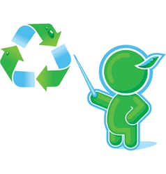 green hero with recycle symbol vector image vector image