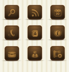 wooden realistic icons vector image
