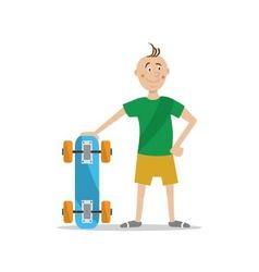 boy holding a skateboard vector image vector image