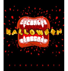 Halloween vampire screaming ghoul mouth with sharp vector image vector image