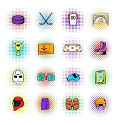 Hockey icons set comics style vector image