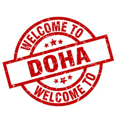 welcome to doha red stamp vector image vector image