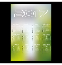 2017 simple business wall calendar abstract blur vector image vector image