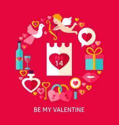 be my valentine postcard vector image