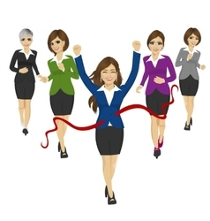cheerful business woman crossing the finish line vector image