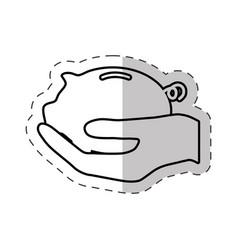 hand holding piggy money vector image