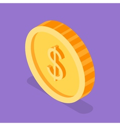 Isometric 3d of golden coin vector image vector image