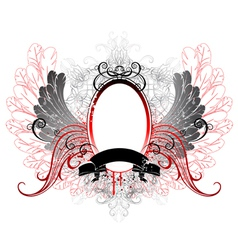 oval banner with gray wings vector image vector image