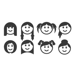 Set of outline woman hair style emoticons vector image