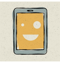 smiling tablet device vector image vector image