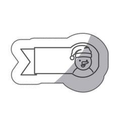 figure sticker ribbon snowman icon vector image