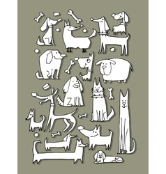 Funny dogs collection sketch for your design vector image vector image