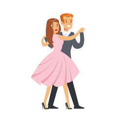 happy couple dancing waltz colorful character vector image vector image