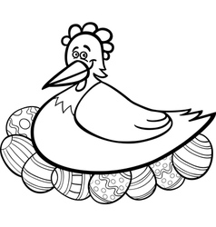 Hen hatching easter eggs cartoon for coloring vector