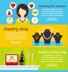 jewelry gift banner horizontal set flat style vector image