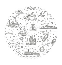 line set of ships and boats vector image