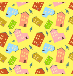 seamless pattern with houses and tree on yellow vector image