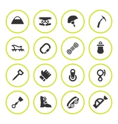 Set round icons of mountaineering vector image