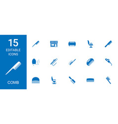 15 comb icons vector