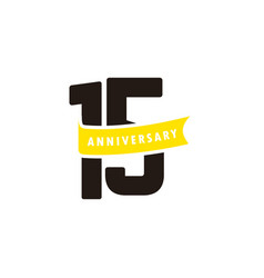 15 years anniversary number with yellow ribbon vector