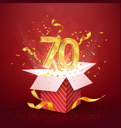 70 th years number anniversary and open gift box vector image