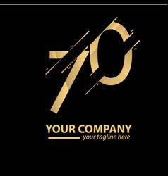 70 year anniversary luxury gold template design vector